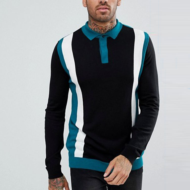 china factory hot selling long sleeve men color block design polo shirt