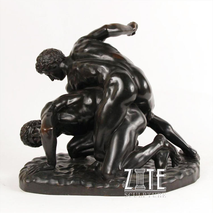 Custom metal figure sculpture bronze wrestling men statue