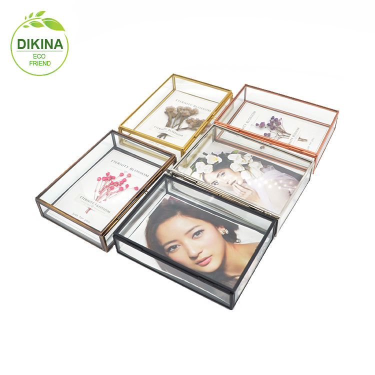 picture photo glass box 4x4 4 inch 4x6 12x12 inch 5x7 5x5 6x6 7x7 8x8 10x10 brass gold trim frames