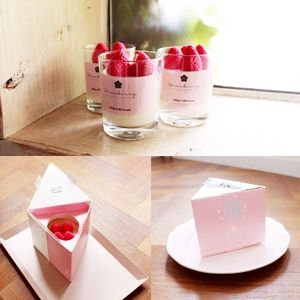 비 단백질 왁 스 strawberry 케이크 (gorilla glass) jar luxury 아로마 양 candle 와 gift box