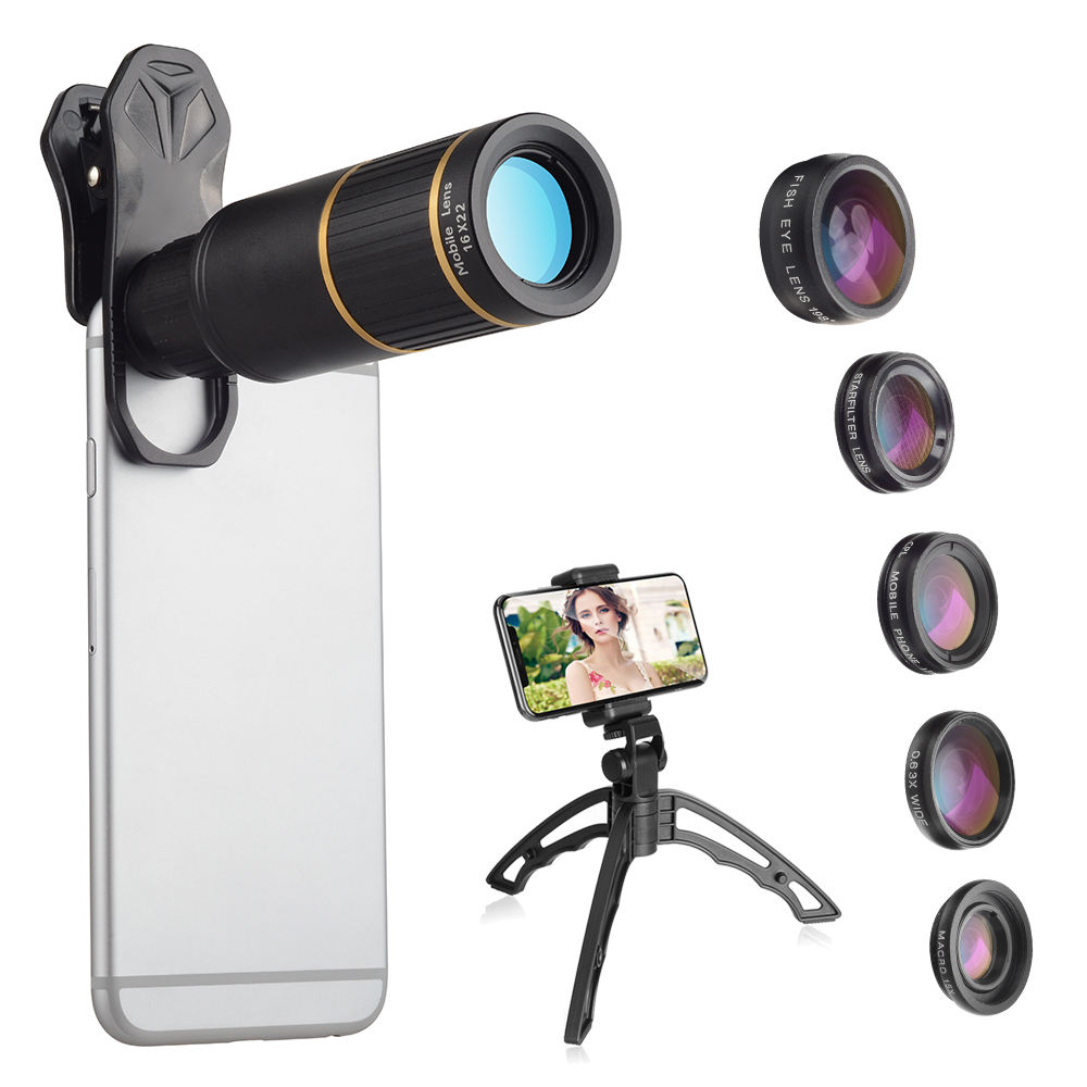 Amazon 16x Telephoto Zoom 6-in-1 Cell Phone Camera Lens Kit 0.62x Wide Angle & 20x Macro Fisheye Professional CPL Phone holder