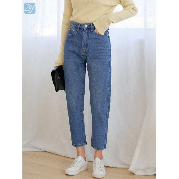 Factory price zip up classic casual straight mom jeans women denim jean