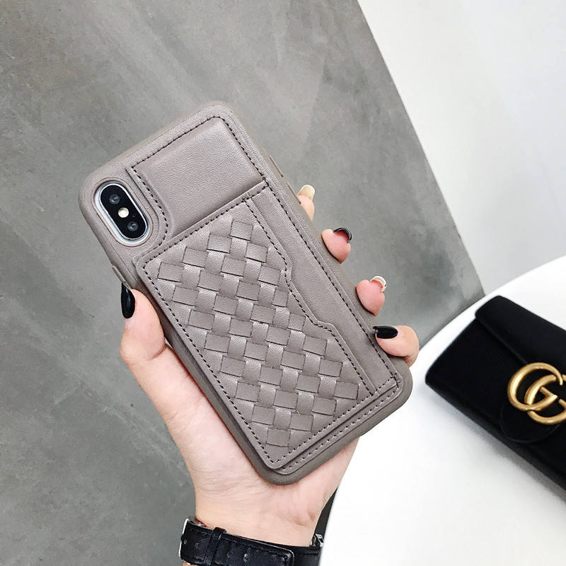 woven pattern leather soft TPU case phone cover for iphone 7 flip case 2019
