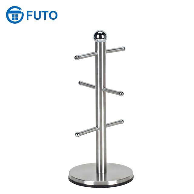 Stainless Steel Kitchen Mug Tree Metal 6 Cups Coffee Holder Freestanding Tableware Classic Mug Storage Cup Rack