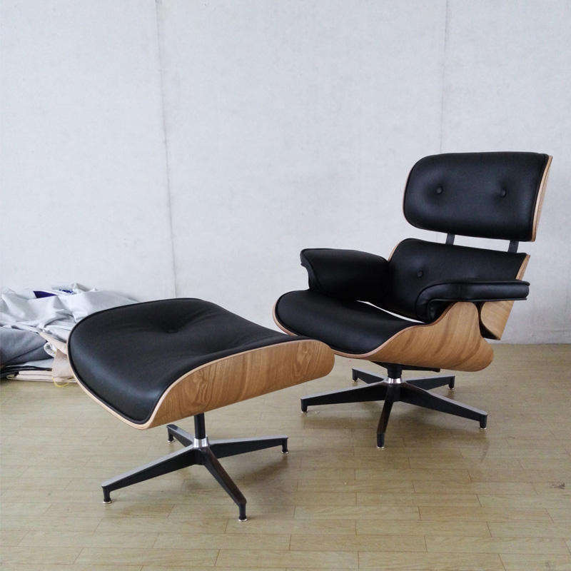 Walnut Plywood Real Leather Charles Leisure Designer Lounge Chair