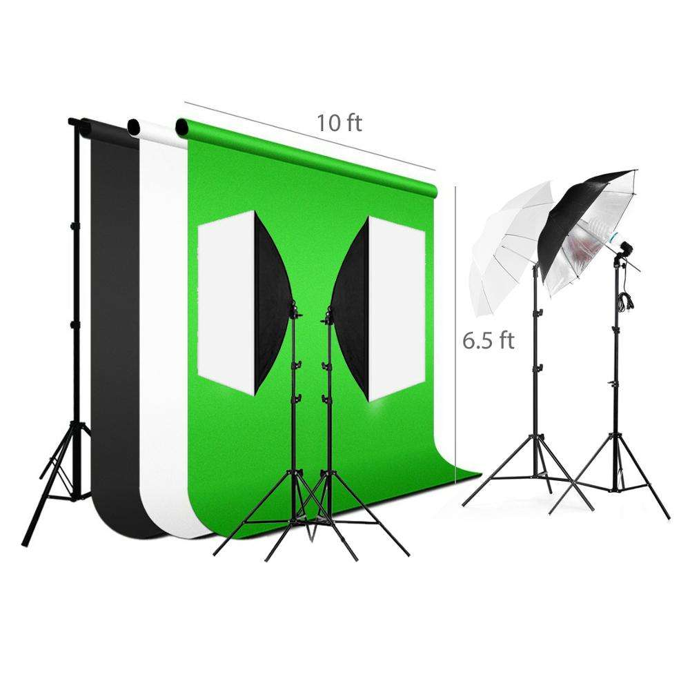 StudioFX 2400 WATT Digital Photography Continuous Softbox Lighting Studio Video Portrait Kit CH9004S3 by Kaezi