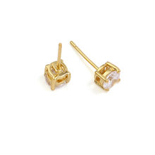 20942 xuping gold earrings designs for girls, 14k gold color white stone stud earrings, fancy stud earring model of gold earring