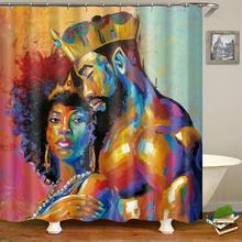 Bathroom Accessories Blackout Water Proof Shower Curtain Fabric, African American Products 3D Shower Curtain Set/