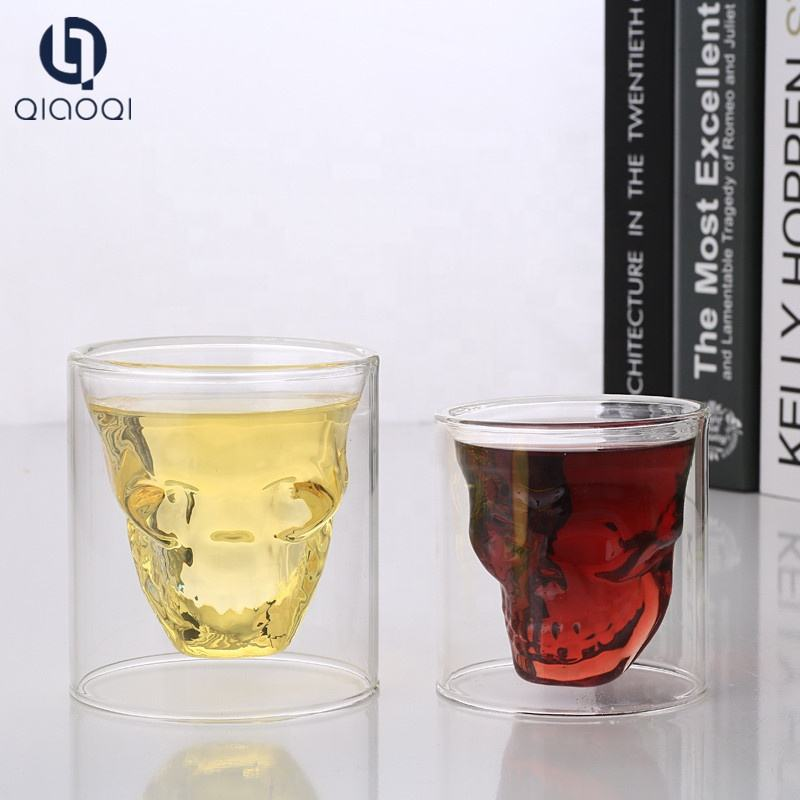250ml double wall skull shaped shot glass cup