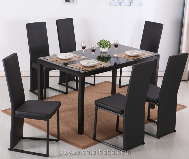 Wholesale modern luxury cheap tempered glass top dining table and pu dining set