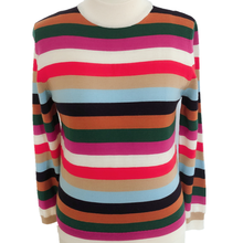 Women's colorful stripes wool high collar fashion knitted pullovers sweater