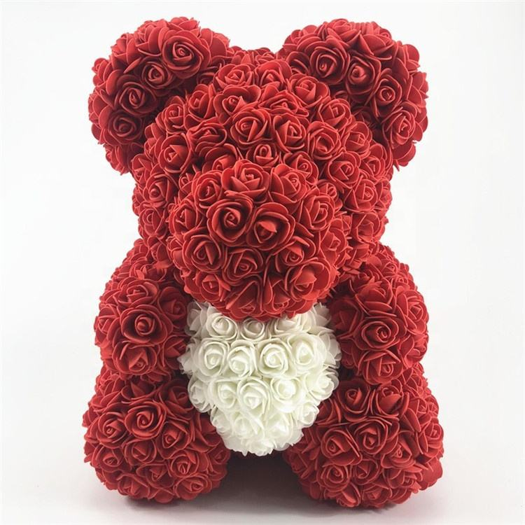 Best Selling Plastic Rose Bear Artificial Teddy Bear Flower Rose 40cm With Heart For Valentine