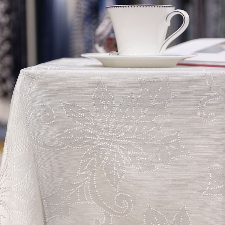 2019 high quality printing tablecloth jacquard white rectangle banquet party home wedding church table cloth with flower pattern