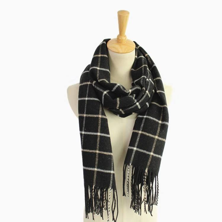 Long Scarf for Men Musheng Men Fringe Stripe Tassel Warm Classic Shawl Winter Long Soft Scarf