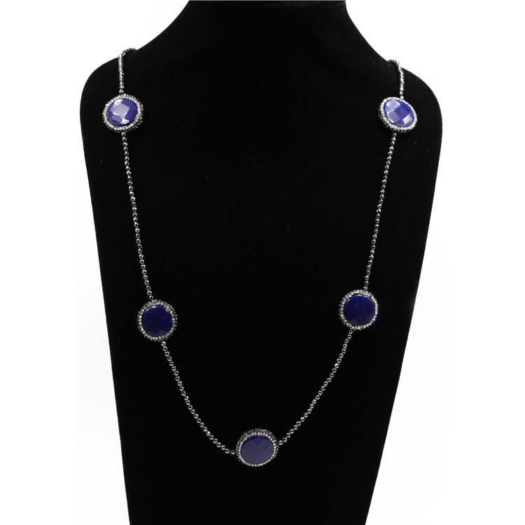 fashion jewellery 2020 wholesale newest style natural lapis lazuli long beaded necklace
