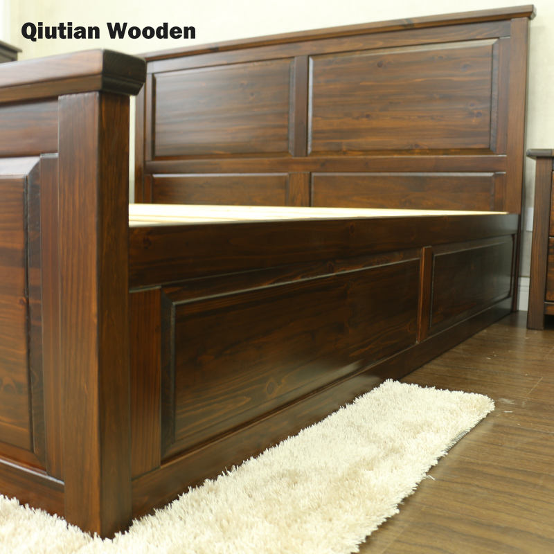 wooden modern bed room luxury american style solid wood furniture made in China