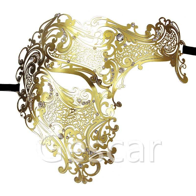 Black Silver Gold Half Skull Halloween Metal Laser Cut Party Mask Phantom Men Women Venetian Filigree Prom Masquerade Ball Masks