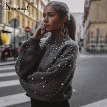 Autumn winter 2018 women sweaters and pullovers bead lantern sleeve knitted sweater pullover female grey slim jumpers
