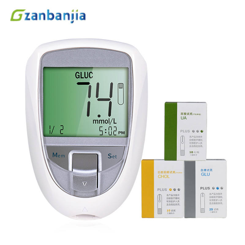 3 in 1 glucose blood sugar, Cholesterol, uric acid test strip multi-monitoting meter, glucometer test strips