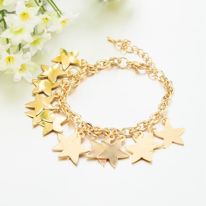 Stars pendant chain bracelet gold plated charm fashion bracelet for women