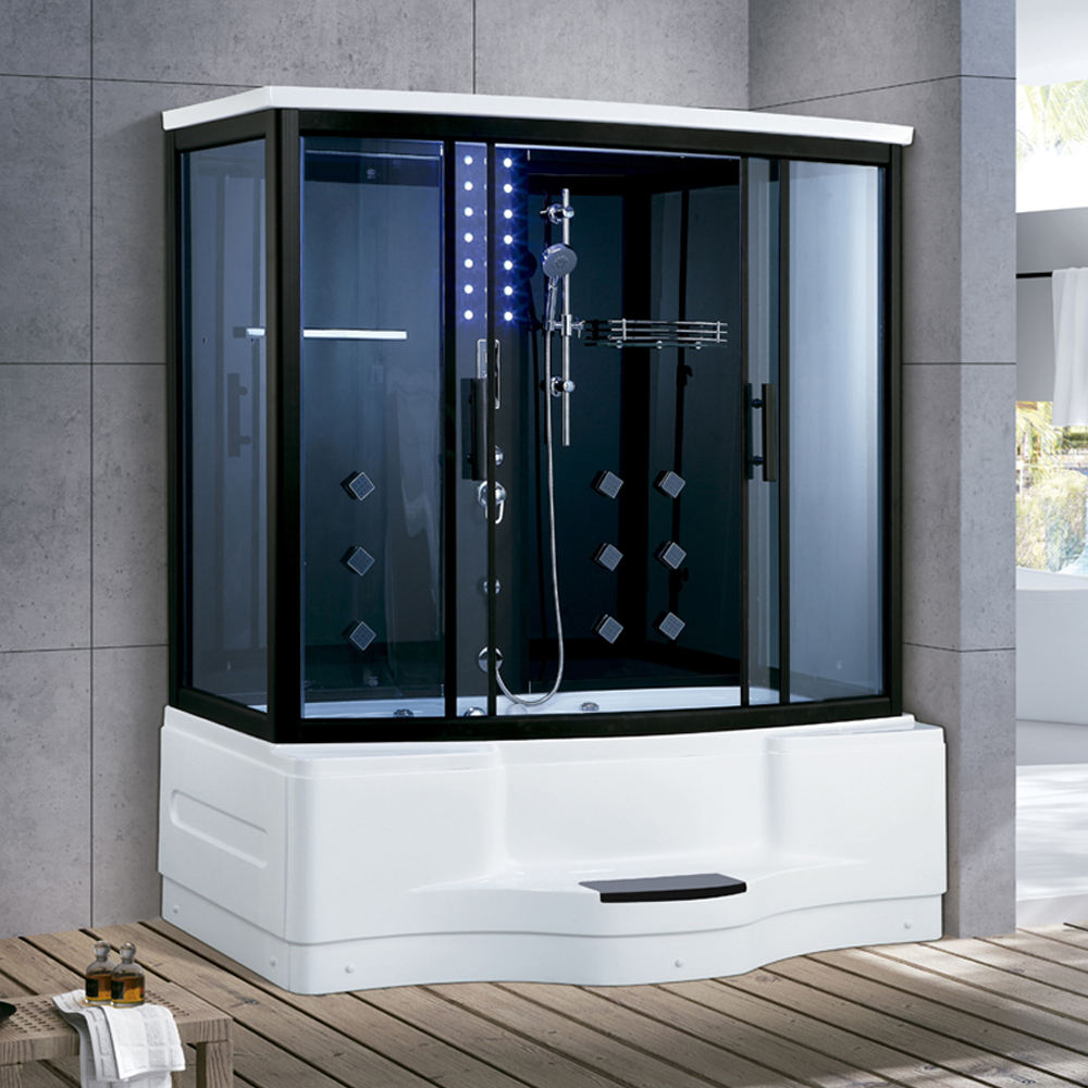 Aishang Acrylic Oblong Computer control with Whirlpool Massage Steam Shower Room