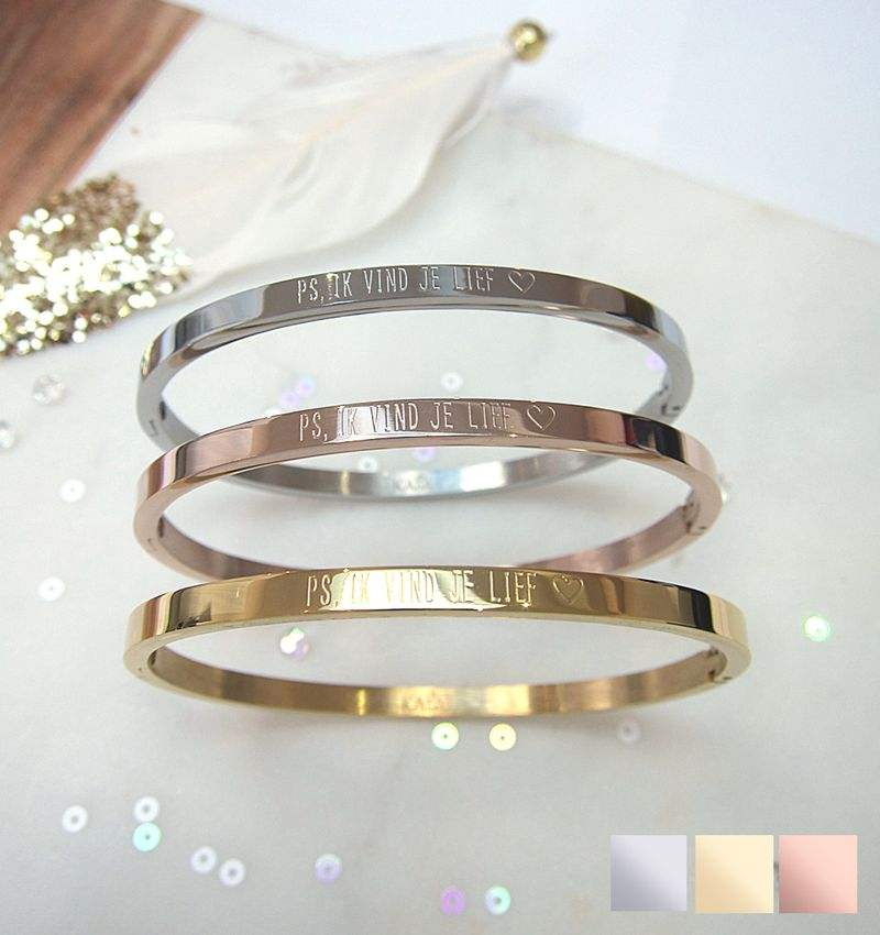 Inspire stainless steel jewelry rose gold cuff bangle bracelets personalized engraved bracelets for female