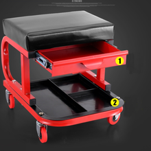 Mechanic Car Creeper Seat, Creeper Workshop Stool Roller Seat, car shop seat with drawer