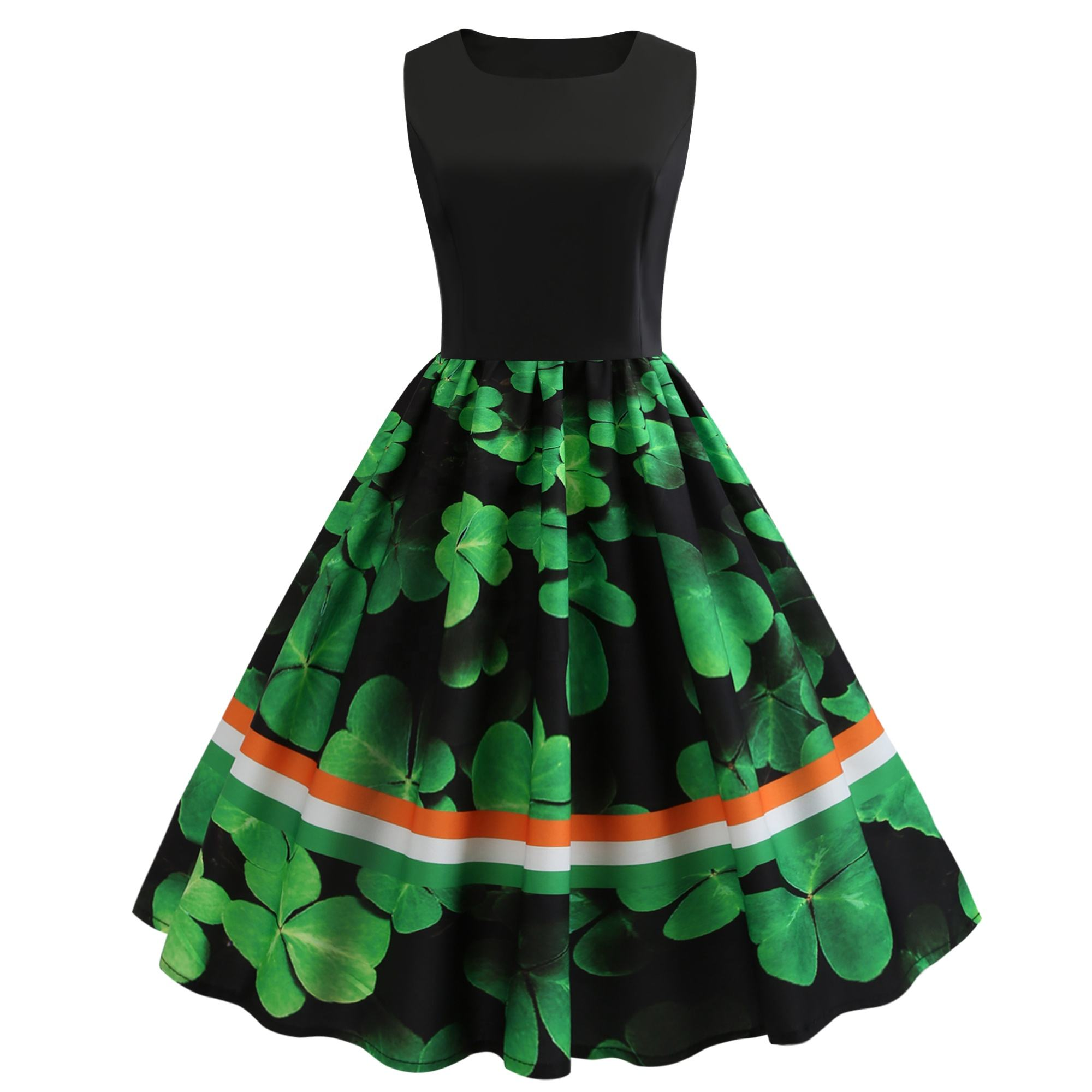 Wholesales St. Patrick's Day Clothing 3D Clover Stripes Print 1950s Reto Vintage Cocktail Party Spring Summer Dress SP-1103