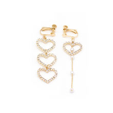 2019East door asymmetrical long heart set diamond pearl tassel clip earrings  for women