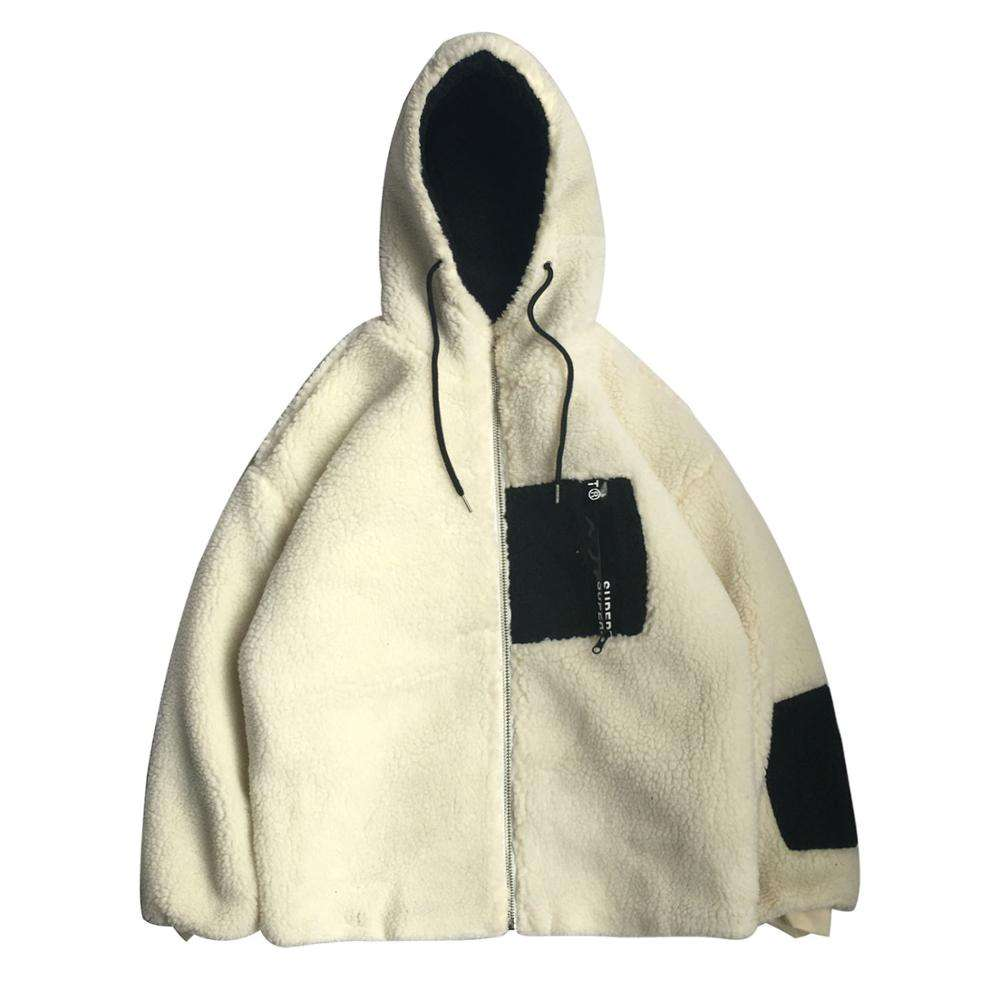 Newest design cheap high quality two tone sherpa fleece hoodies with pocket zip pullover oversized