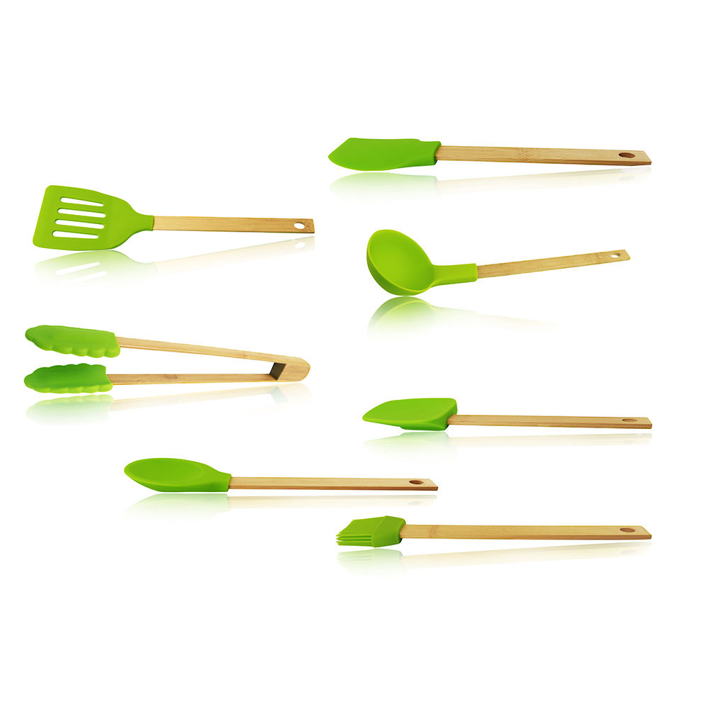 Colored bamboo handle silicone kitchen utensils