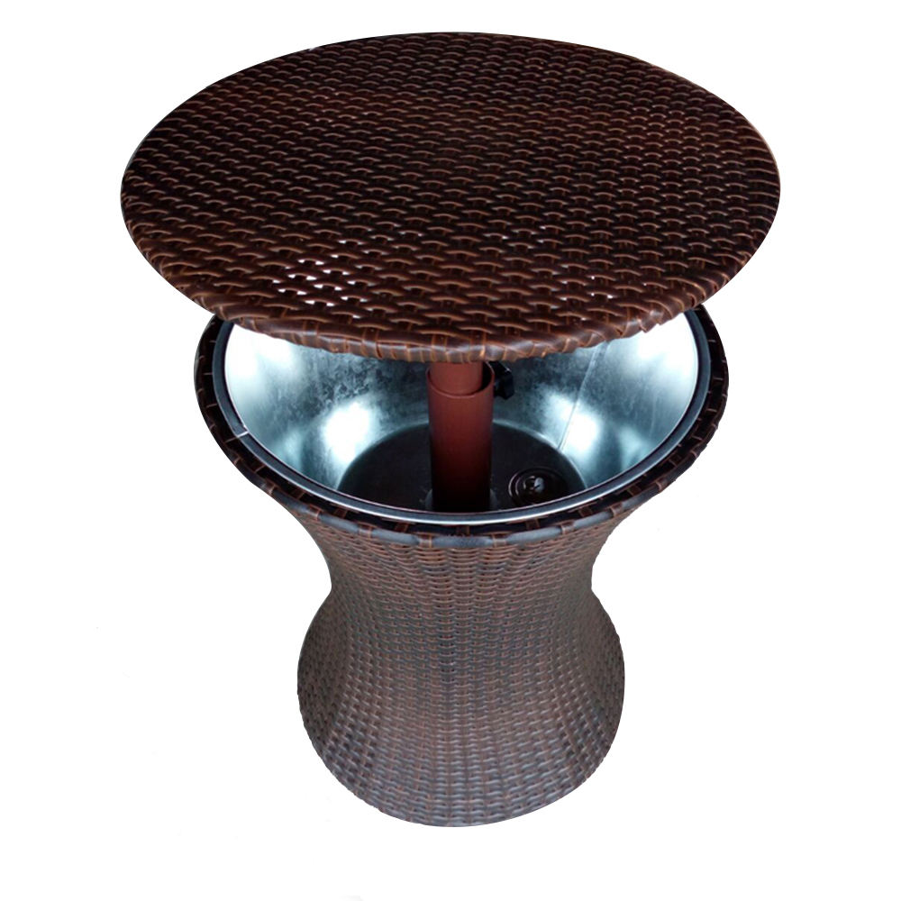 Hot sale factory directly plastic rattan and metal bucket beer wine drinks holder adjustable ice box cooler