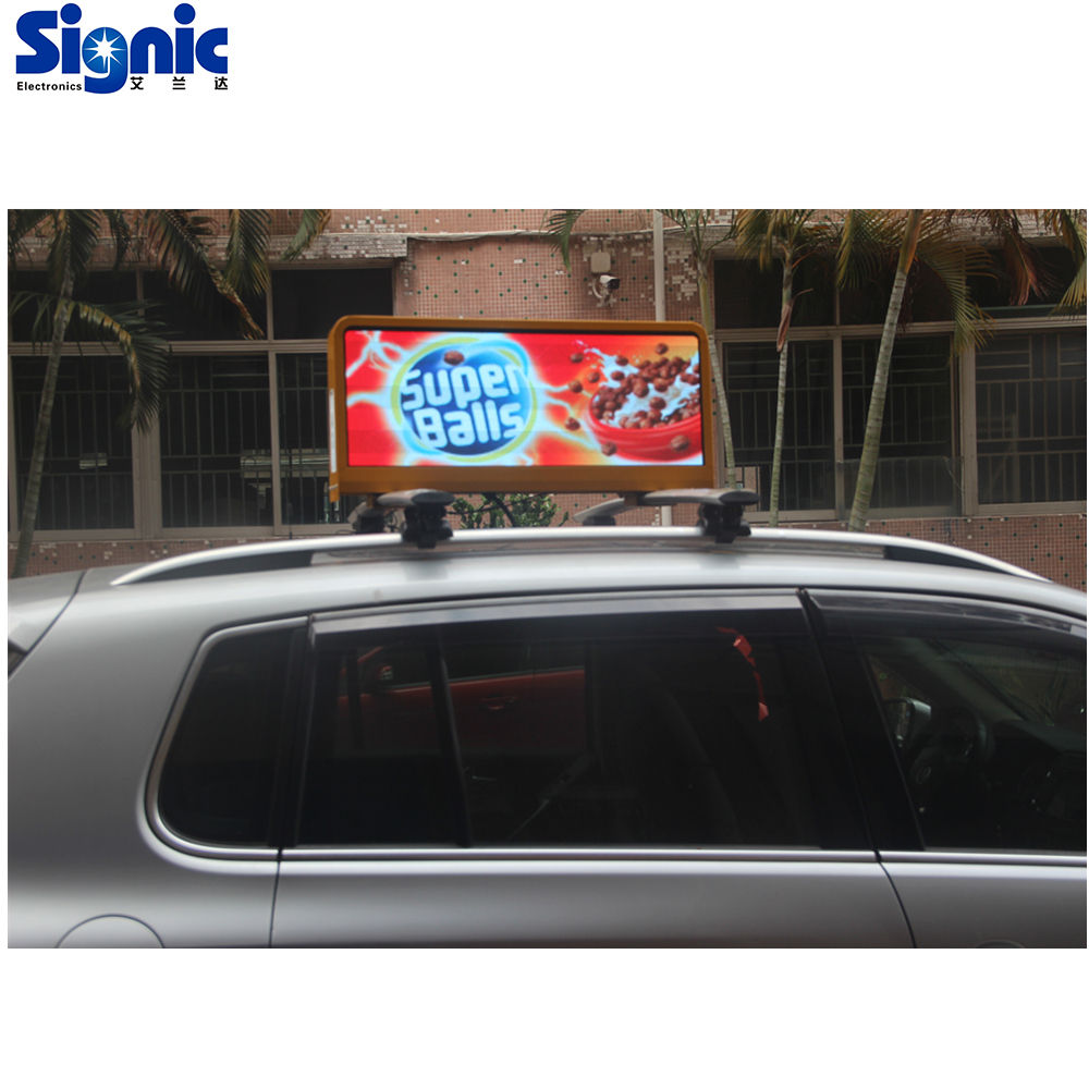Waterproof P3mm Advertising 3G WIFI GPS wireless car roof advertising screen taxi led top light display