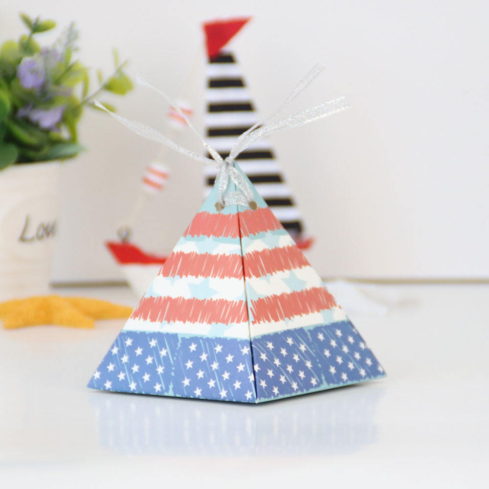 America style pyramid shape paper candy packaging box
