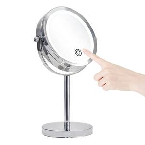 2020 touch sensor double side round magnifying 10X custom battery lighted Makeup Led Mirror
