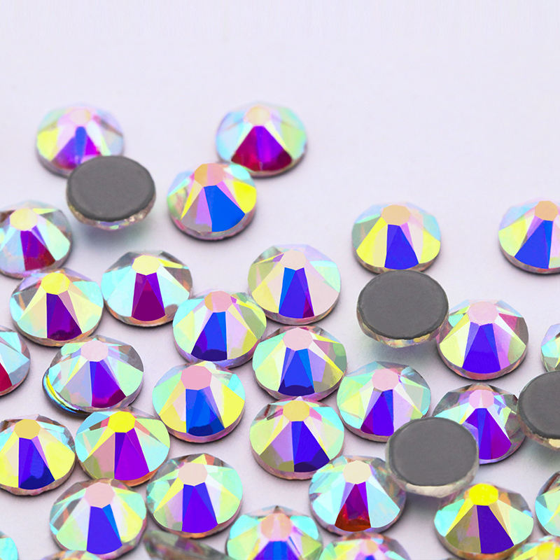 16 Cutting High quality K9 Crystal Glass Flat Back Hot Fix Rhinestones for Shoe or Garment decorations