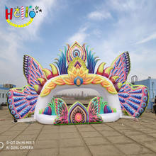 Stage Event decorative colourful inflatable butterfly stage background wall with LED lights