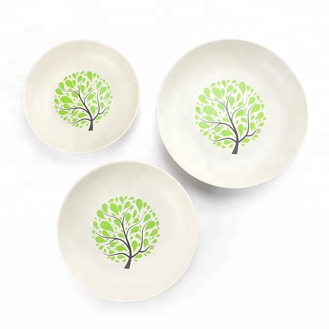 Wholesale Different Size Bamboo Fiber Household Dinner Round Serving Plate Dish Set