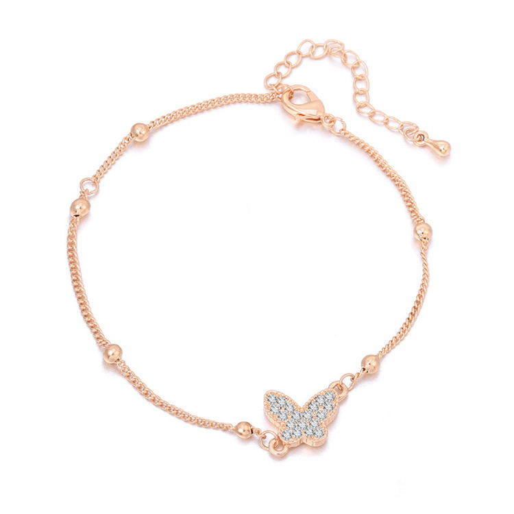 Rose gold plated foot diamond anklet bracelet body jewelry women