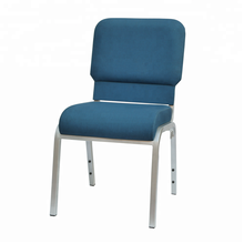 Stackable blue padded modern church chair