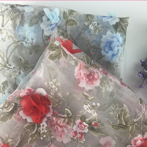 wholesale new popular 3D flower print organza fabric