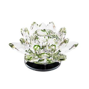 Rotatable crystal lotus flower fengshui home deco with gift box