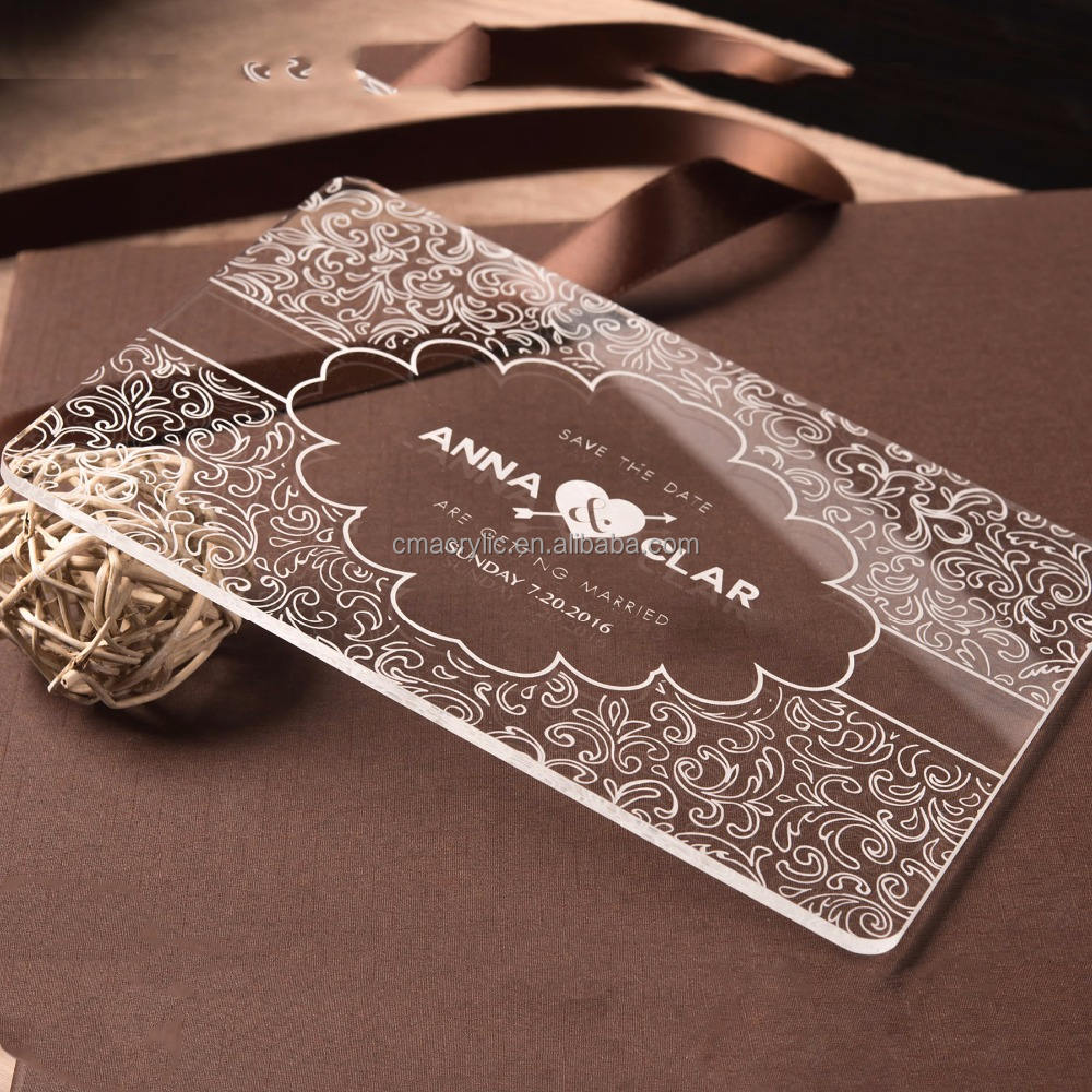 Personalized logo printing and engraving luxury crystal glass acrylic custom wedding invitation card