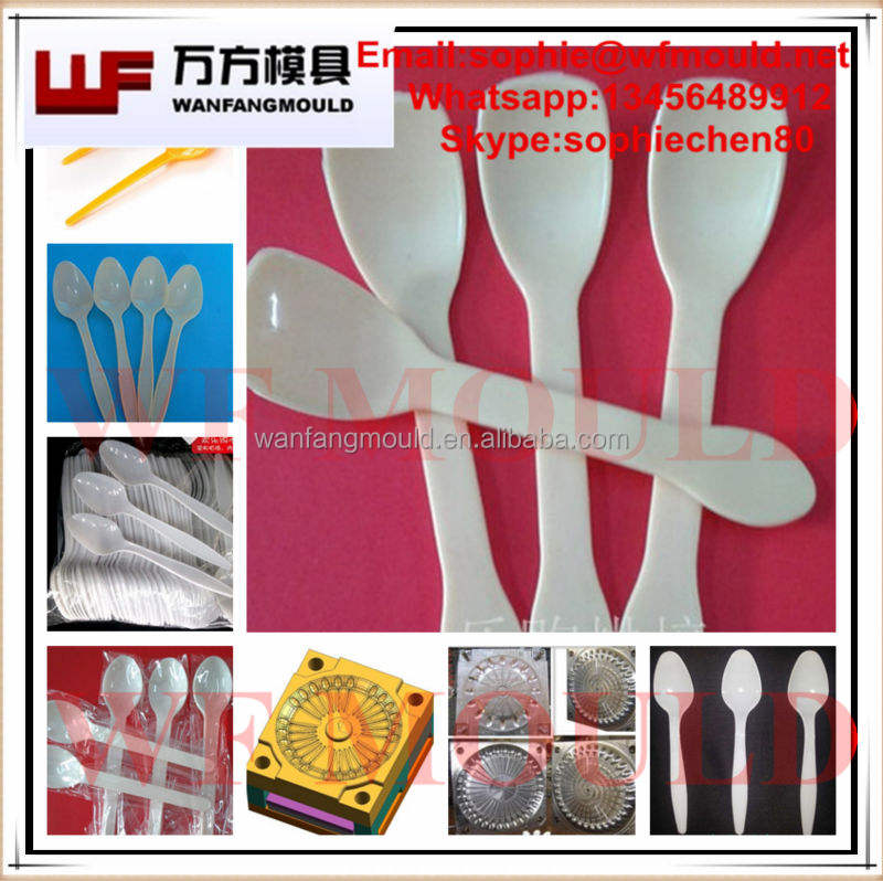 china supplier production plastic injection disposable ice cream spoon mould/OEM disposable ice cream spoon fork knife mold