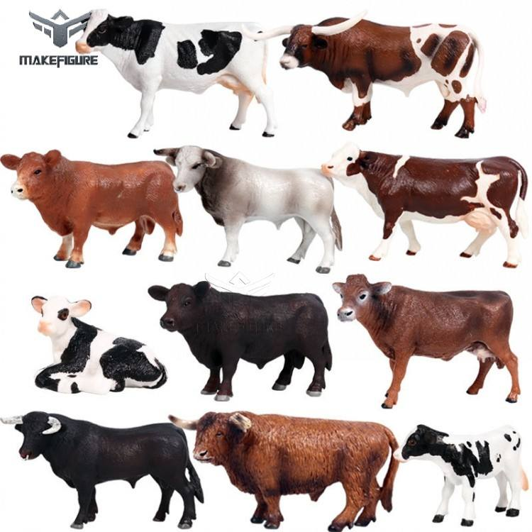 different kinds of PVC cow toys model, custom PVC animal cow figure toy, OX and cow collection toys for education
