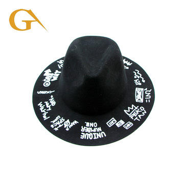 Wholesale Men Wool Felt Black Printed Fedora Hat