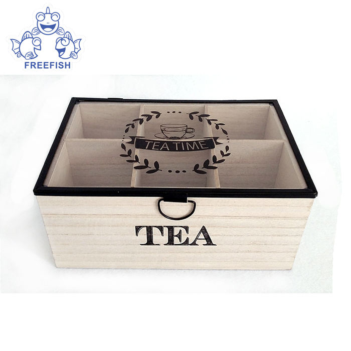 Natural Wood Tea Box With Glass Lid, Wood Tea Chest Organizer, Wooden Tea Storage Container