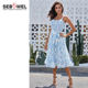 Stylish Spaghetti Strap Ruffles Top Casual Midi Dress With Sashes