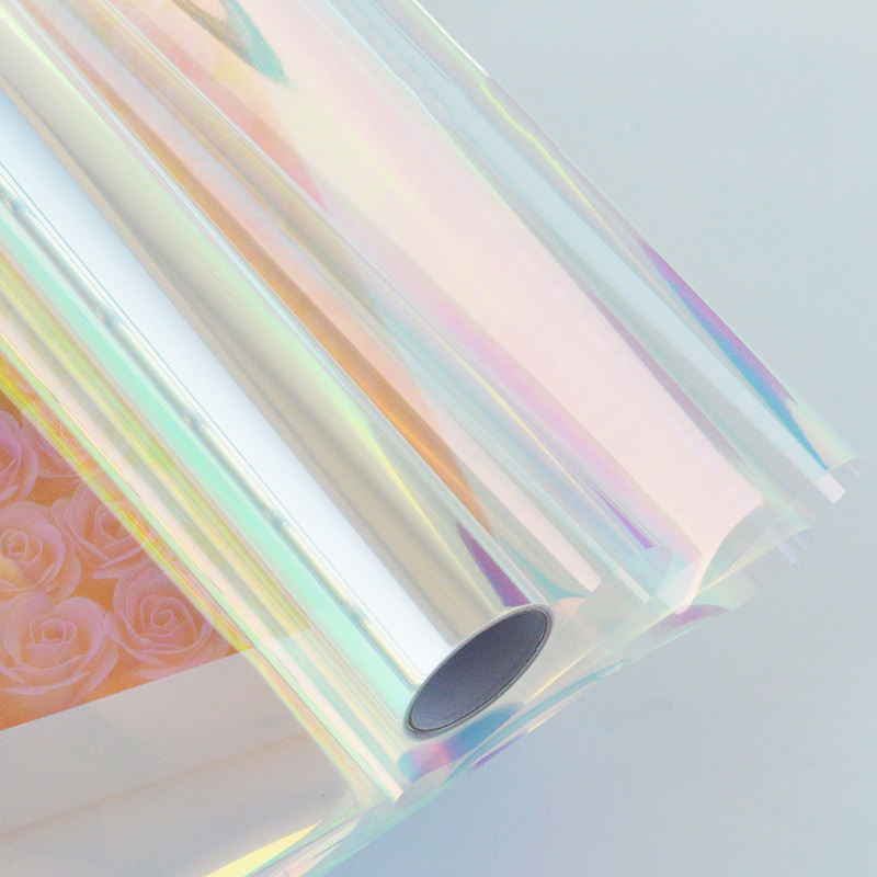 PET Rainbow Film Patict Colored Reflective Plastic Iridescent Film for Flower Wrapping