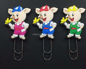 New coming custom 3D pig shape soft PVC rubber bookmark clip for sale